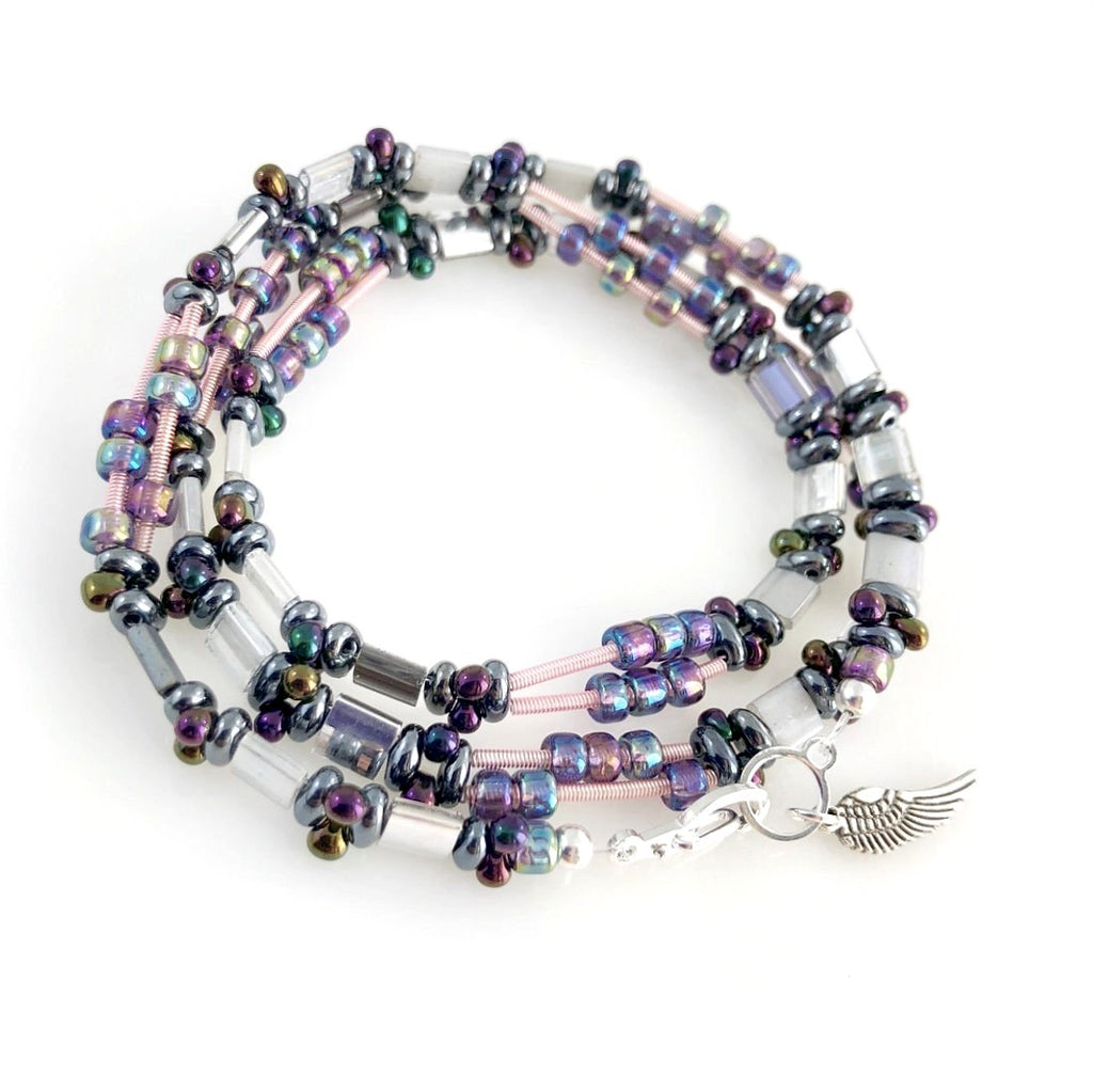 """Glass Tile"" Wrap Bracelet (Lilac)"