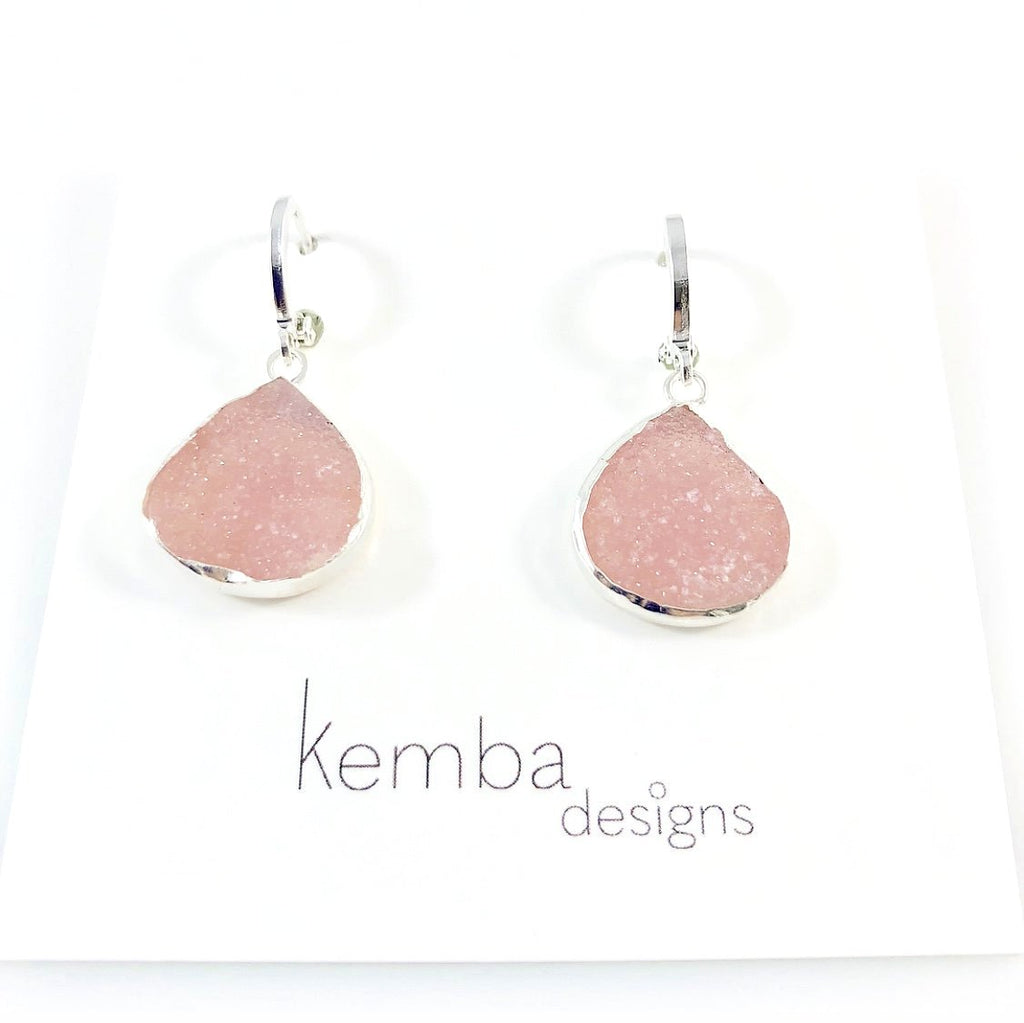 """Druzy Triangles"" Earrings"