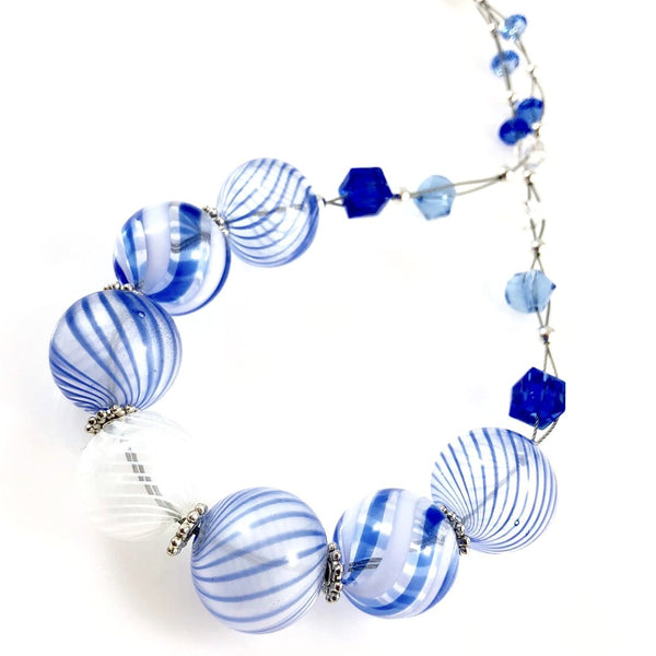 """Blown Glass Orb"" Necklace (blue)"