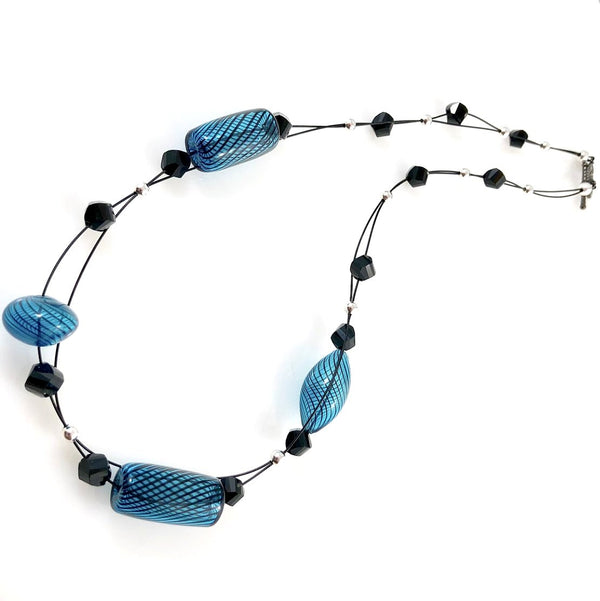 """Blown Glass Orb"" Necklace (Turquoise)"