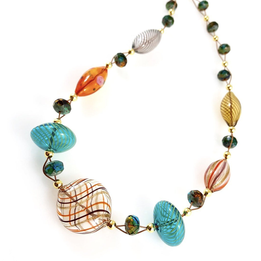 """Blown Glass Orb"" Necklace (Multi-Colour)"