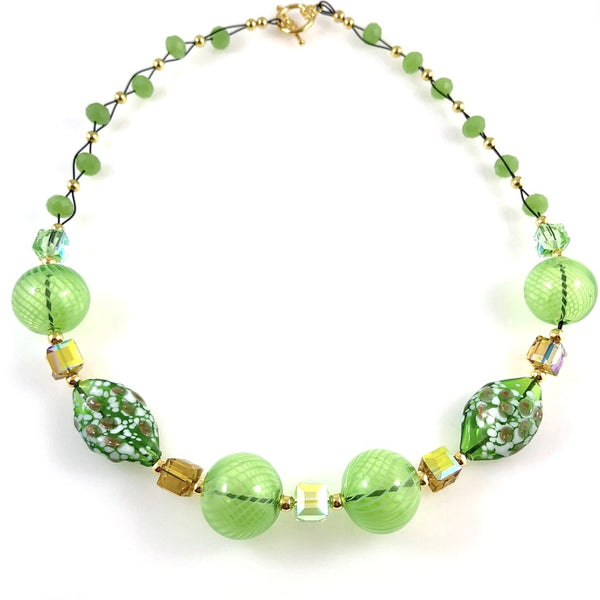 """Blown Glass Orb"" Necklace (Green)"