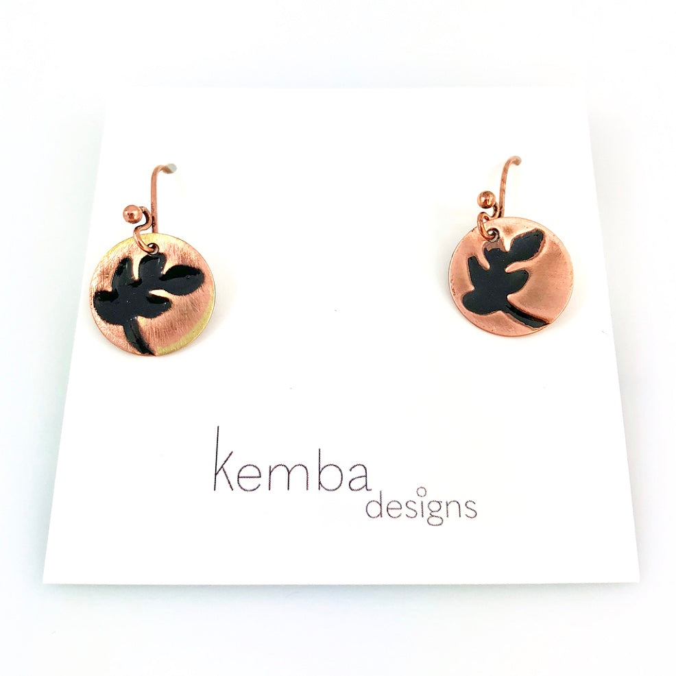 """Impressions"" Fern Earrings (black)"