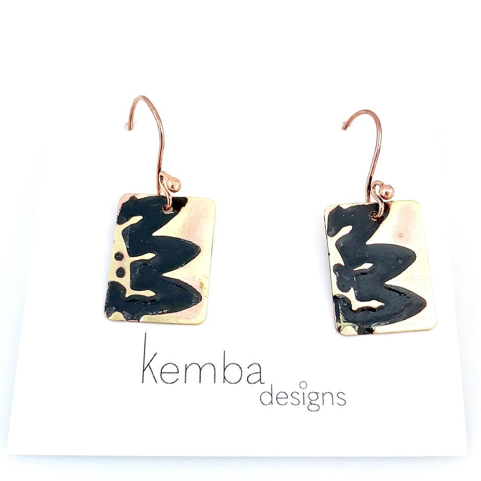 """Impressions"" Wave Earrings (black)"