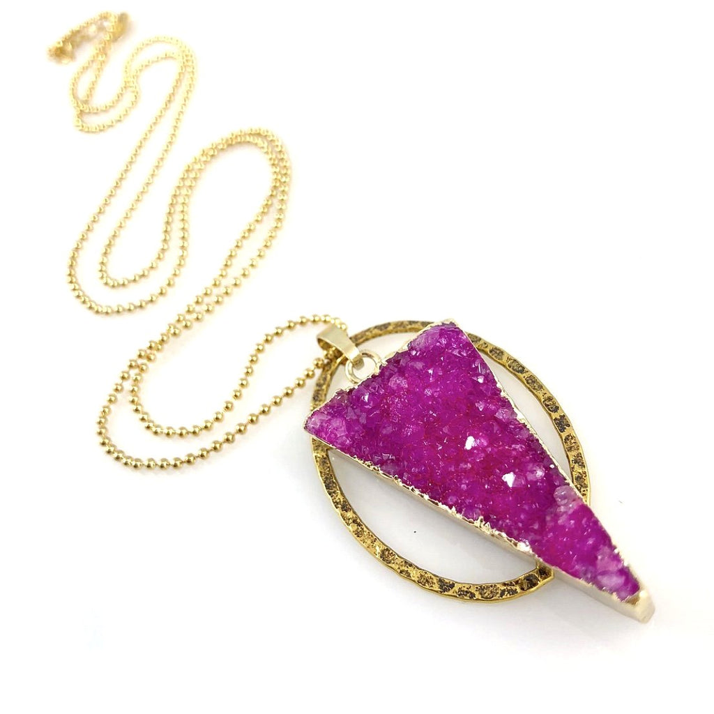 """Druzy XL"" Necklace (Fuschia)"