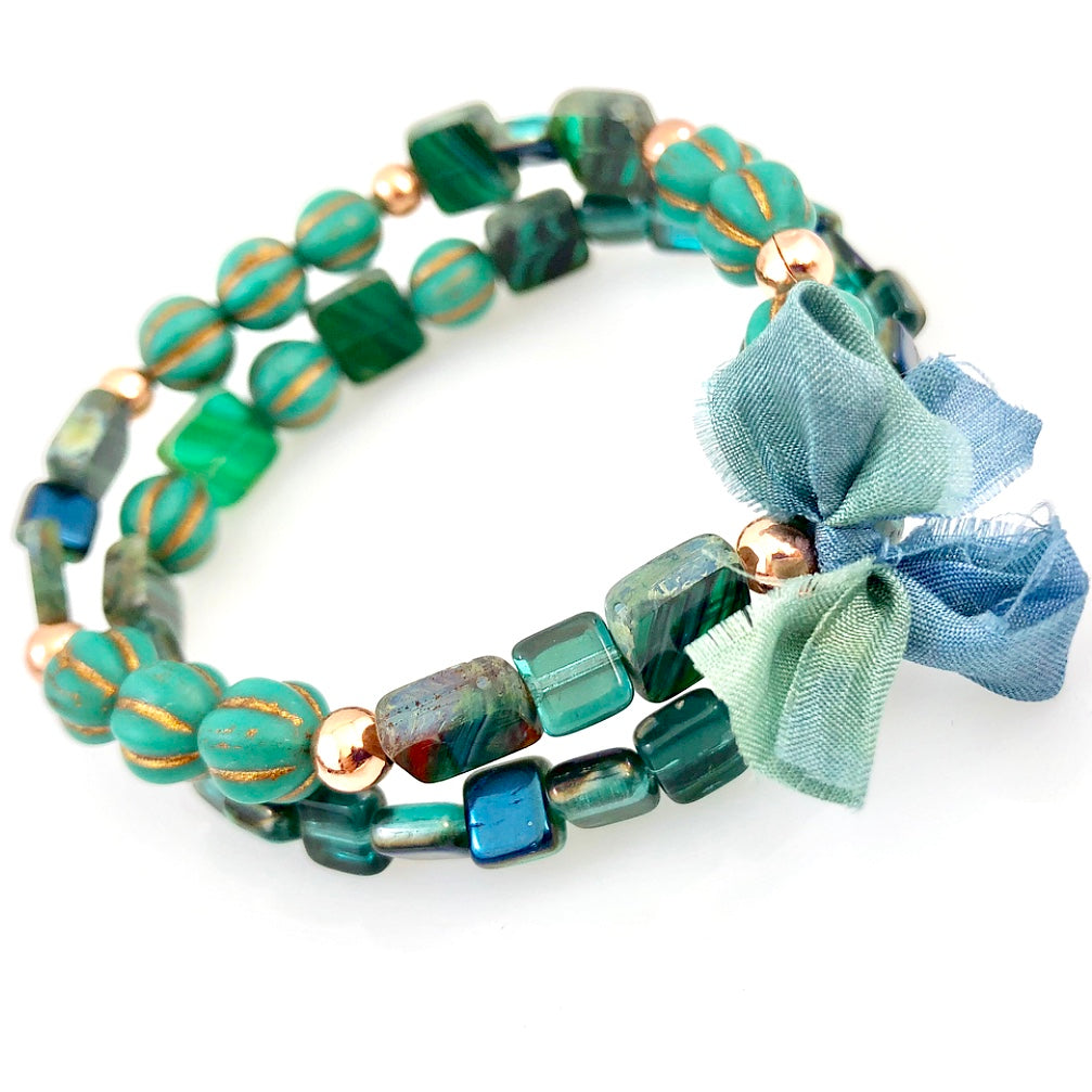 """With Thanks"" Bracelet - Turquoise Green"