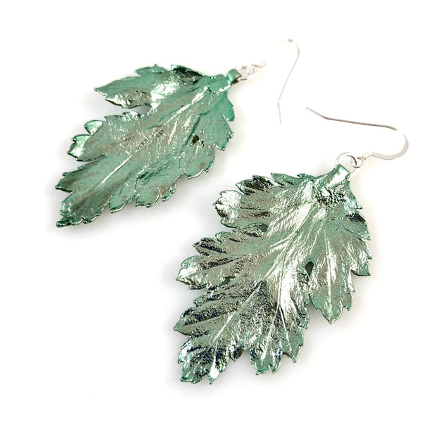 """Glitter Leaf"" Earrings (3 colour options)"