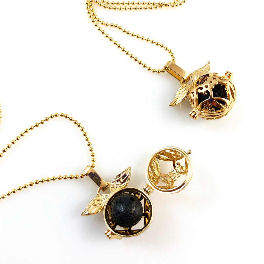 """Lava Stone Cage"" Pendant Necklaces (gold)"