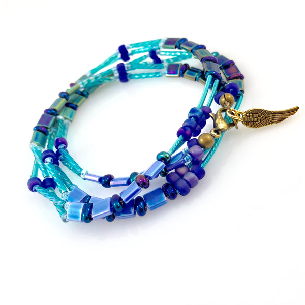 """Glass Tile"" Wrap Bracelet (Blue Bird)"