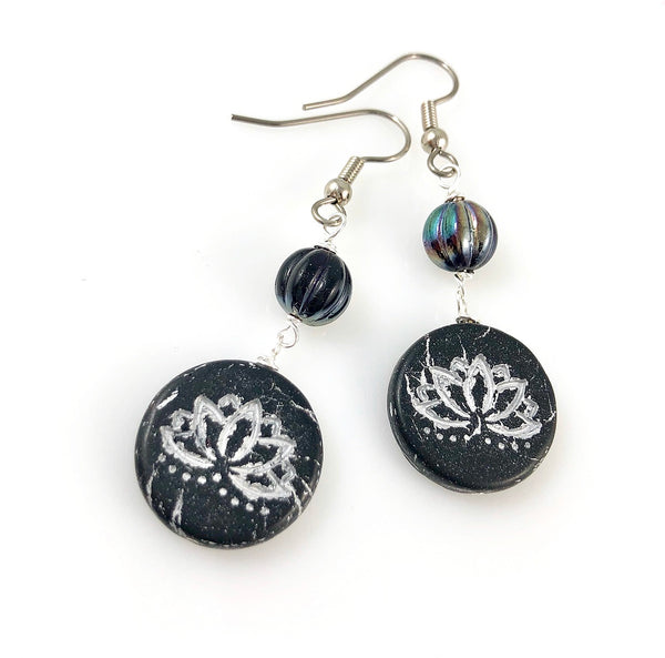 """Black Lotus"" Earrings"