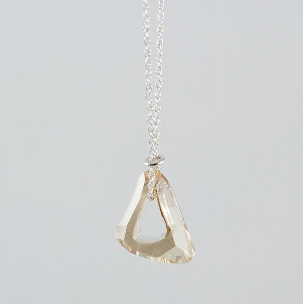 """Twinkle"" Champagne Triangle Necklace"