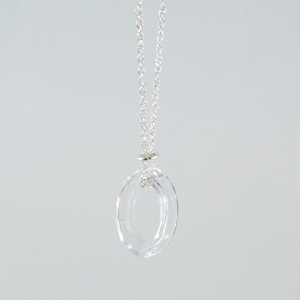 """Twinkle"" Clear Oval Necklace"