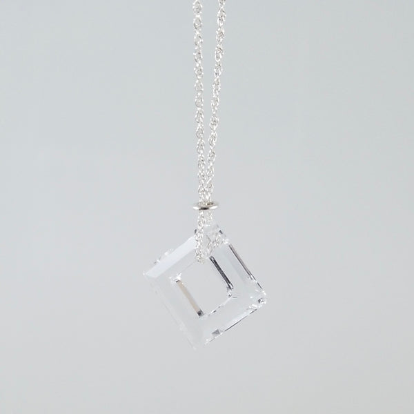"""Twinkle"" Clear Square Necklace"