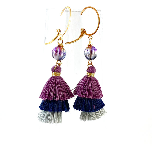 """Trio Plum Tassel"" Earrings"