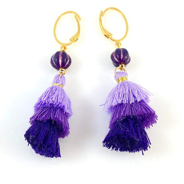 """Trio Grape Tassel"" Earrings"