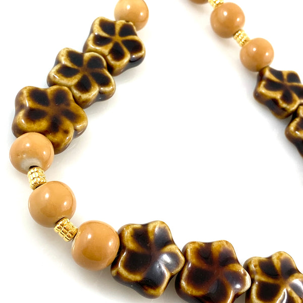 """Butterscotch Flower"" Necklace"