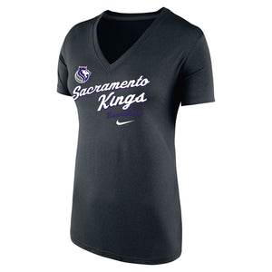 Women's Nike DriFit BCS Sac Kings Script V-Neck Tee - Black