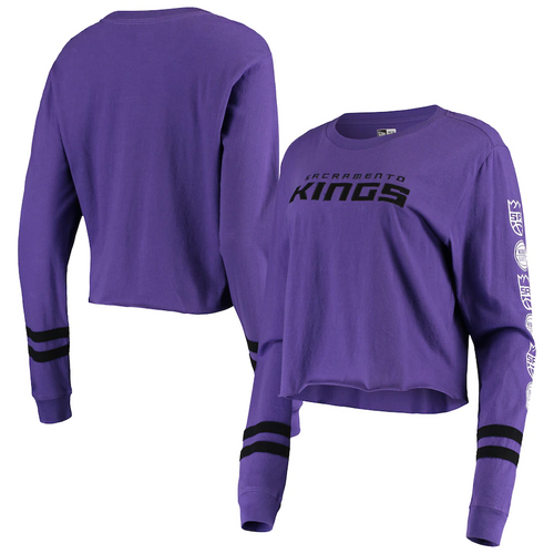 Women's NewEra Striped Long Sleeve Crop Tee - Purple