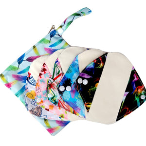5pcs Small Reusable Panty Liner with 1 Wet Bag