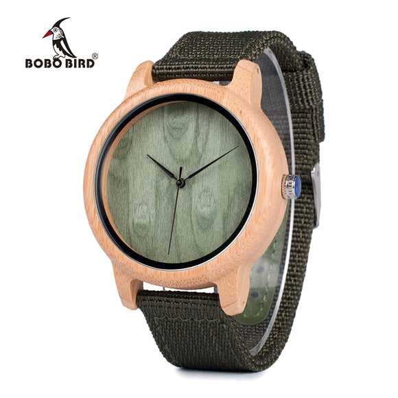 Bamboo watch with no face and nylon strep