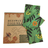 Green Beeswax Food Wrap with Flower Pattern