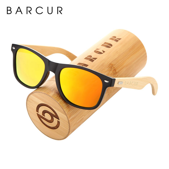 Wooden Sunglasses with orange lenses sitting on a wooden case