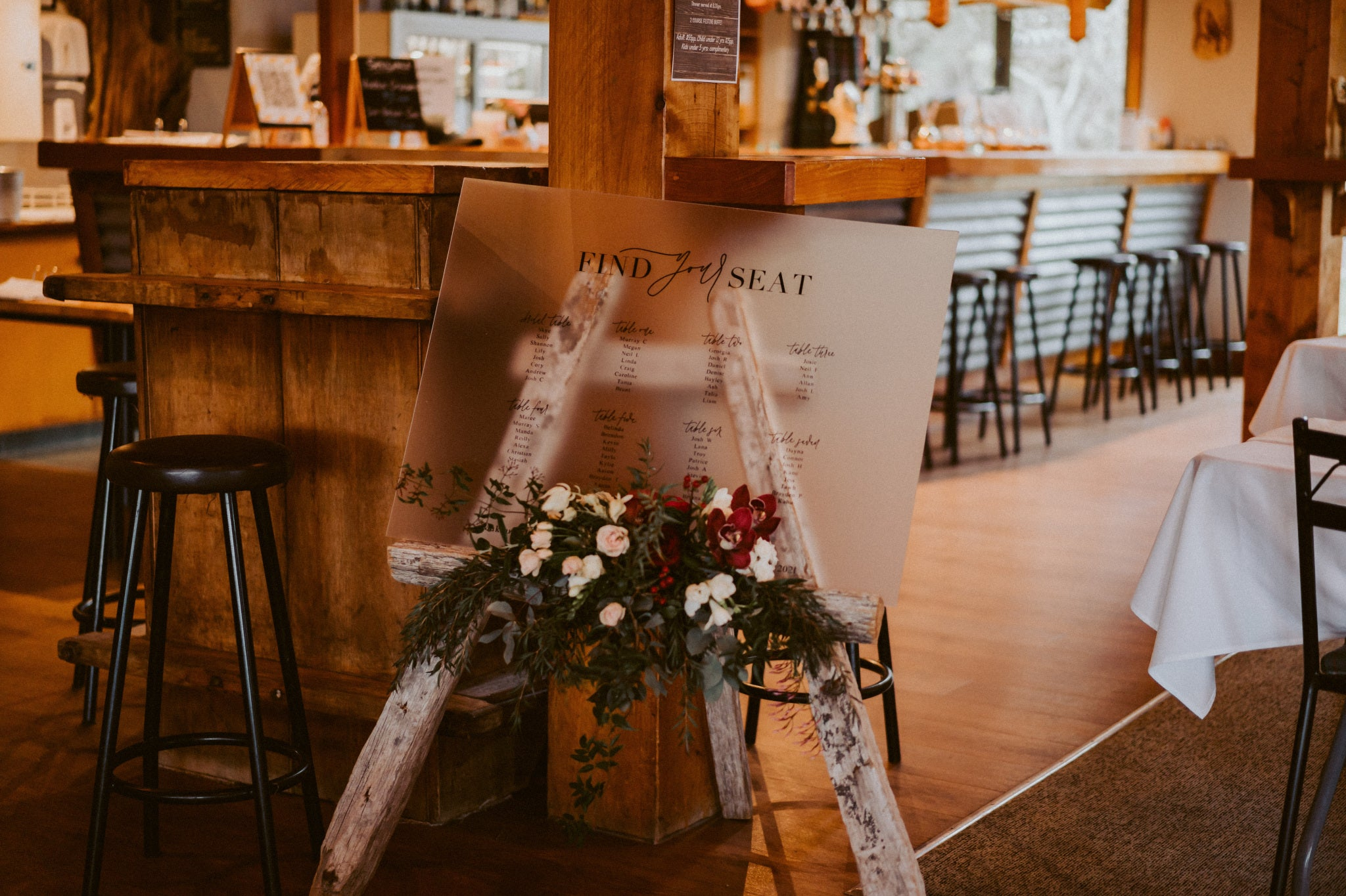 Lily + Josh | Frosted Acrylic Wedding Seating Plan | Custom Signage | The Paper Gazelle Wedding Feature