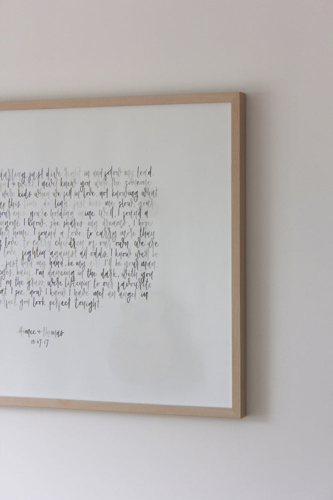 Load image into Gallery viewer, Watercolour Vows / Lyrics Custom Wall Art