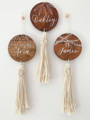 Boho Botanical Name Wall Hanging