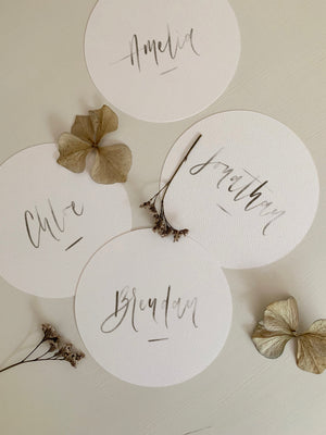 Round Calligraphy Place Cards