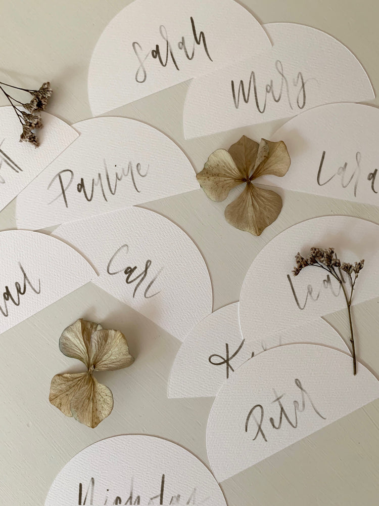 Half Round Calligraphy Place Cards