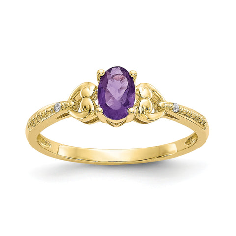 Anillo de oro amarillo de 10 quilates con diamantes y amatista