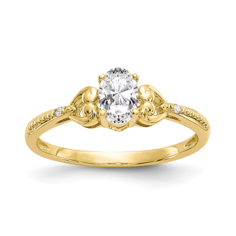 10K Yellow Gold White Topaz Diamond Ring