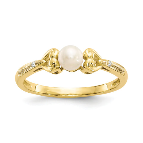 10K Yellow Gold FW Cultured Pearl Diamond Ring