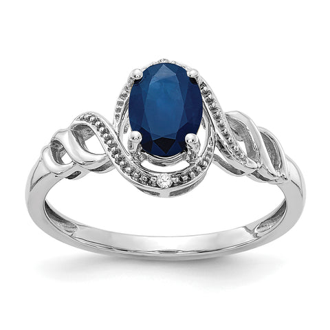 10k White Gold Sapphire and Real Diamond Ring