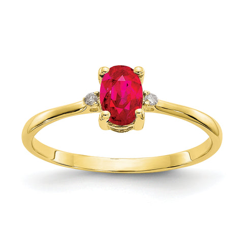 10k Yellow Gold Polished Geniune Diamond and Ruby Birthstone Ring
