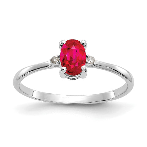 10k White Gold Polished Geniune Diamond and Ruby Birthstone Ring