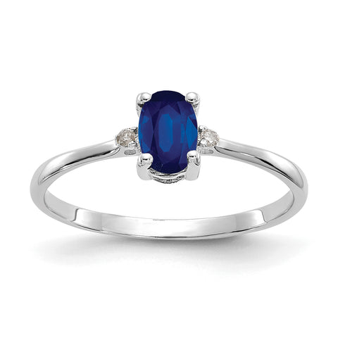 14k White Gold Natural Diamond and 6x4mm Sapphire Birthstone Ring