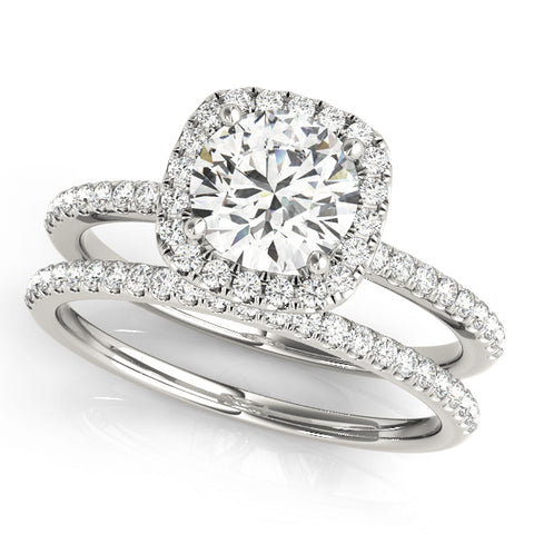 1.20Ct. Swarovski Round Diamond Halo Engagement Ring Set 14K Solid White Gold