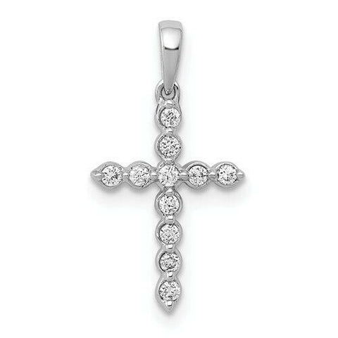 1/10ct 14K Yellow White or Rose Gold Diamond Cross Pendant Religious Jewelry