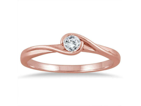 1/6 Carat REAL Diamond Solitaire Engagement Promise Twist Ring in 10K Rose Gold