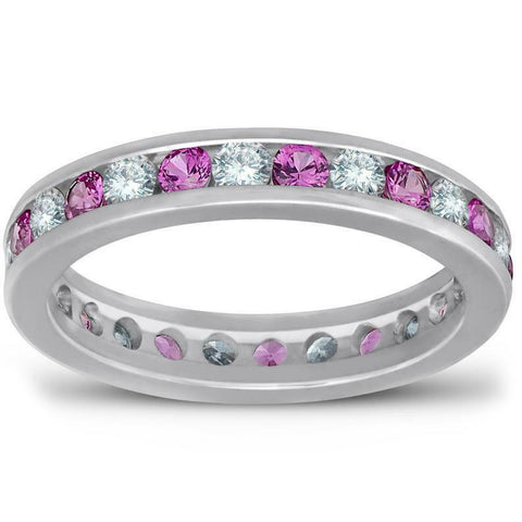 Pink Sapphire Diamond Eternity Ring 1.50ct Channel Set Wedding Ring in 14K Gold
