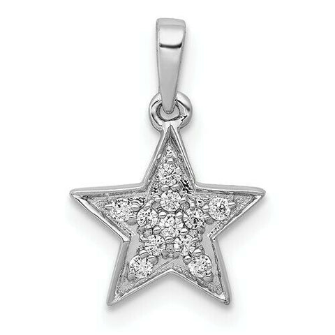 1/10ct 14K Yellow White or Rose Gold Diamond Star Pendant Celestial Gift Jewelry