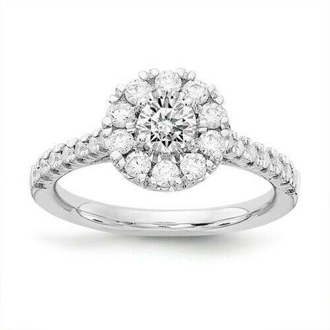 1.00CT Floral Halo Round Real Diamond Engagement Ring 14K White Gold