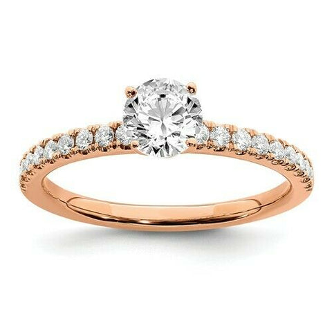Certified 1/2CT Round Real Diamond Engagement Ring 14K Rose Gold
