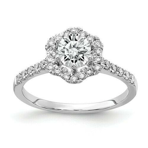 3/4CT Floral Halo Round Real Diamond Engagement Ring 14K White Gold
