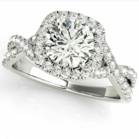 1.0 Ct Diamond Cushion Halo Engagement Ring in 14k White Yellow or Rose Gold