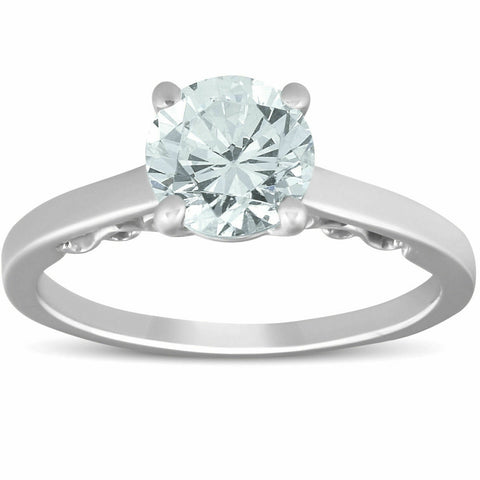 F/VS 1.52 ct Diamond Engagement Solitaire Vintage Ring 14k White Gold