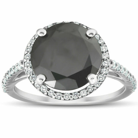 3 1/3 Ct Black REAL Diamond Halo Engagement Ring 14k White Gold