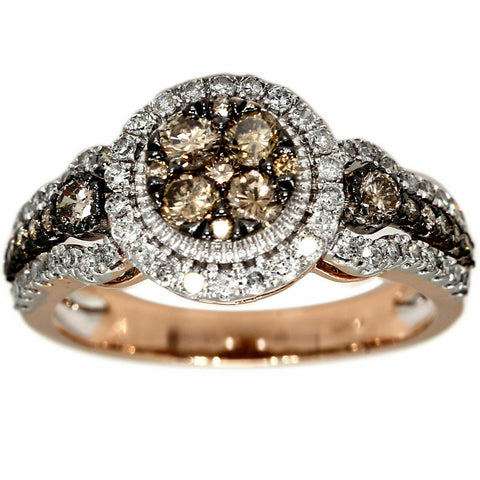 1 Ct. Champagne Diamond Halo Engagement Ring 10k Rose Gold